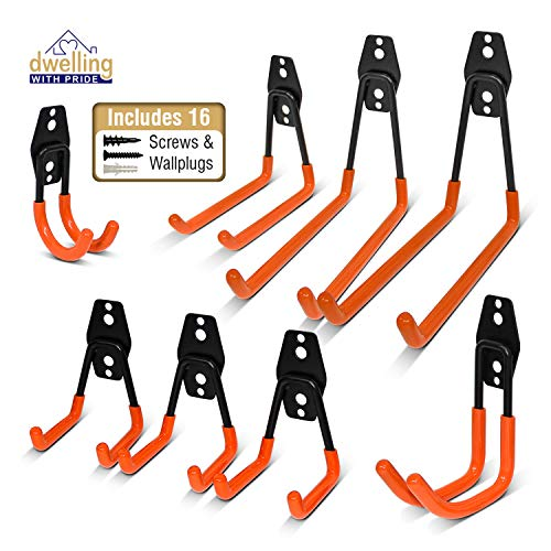 Heavy Duty Wall Hooks, 8-Pack Steel Garage Hooks for Garage Storage - Wall Mount Hanging Hooks Tool Organizer Holds 40...
