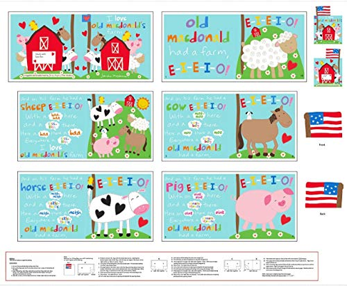 MacDonalds Farm Book Panel 36 x 44 Cotton Fabric from Studio E4611P-1