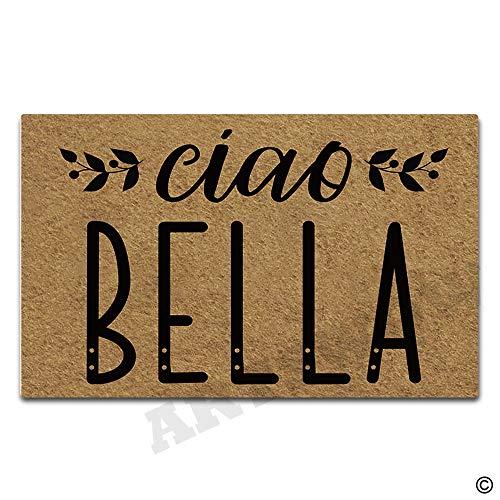 Artswow Welcome Door Mat Ciao Bella Funny Doormat Entrance Floor Mat with Non-Slip Rubber Backing Door Mat, 23.6 by 15.7 Inch