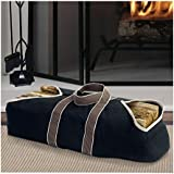 Large Canvas Log Tote Bag Carrier Indoor Fireplace Landman Firewood Totes Holders Round Woodpile Rack Fire Wood Carrier Carrying for Outdoor Tubular Birchwood Stand by Hearth Stove Tools Set Basket