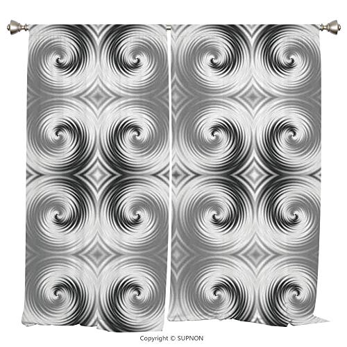Rod Pocket Curtain Panel Thermal Insulated Blackout Curtains for Bedroom Living Room Dorm Kitchen Cafe/2 Curtain Panels/108 x 108 Inch/Spires Decor,Symmetric Spiral Forms with Hallucinating Distractin