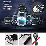 15000 Lumen LED Headlight CREE XML 3T6 Zoom LED Headlamp Flashlight Torch Head Lights Lamp+218650 Battery+AC/Car/USB Charger