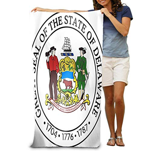 zexuandiy Beach Towel Soft Quick Dry Lightweight High Absorbent Pool Spa Towel for Adult 31 X 51 Inch State Seal Delaware USA d Rendered