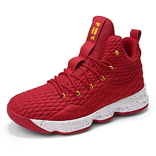 Customized Basketball Shoes - COSDN Womens Fashion High-Top Lightweight Basketball Shoes Sports Breathable Running Flyknit Youth Sneakers Size 6 Red