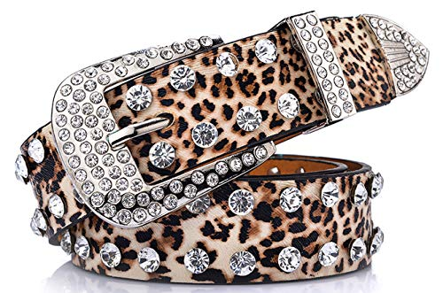 Ayli Women's Sparkling Rhinestone Studded Leather Bling Jean Belt, Free Gift Box, Leopard Print, Fits Waist 34