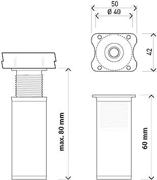 sossai® Patas para muebles MFR1 | 4 piezas | altura regulable | Diseño: Alu | Altura: 60 mm (+20mm) | Perfil redondo: 40 x 40 mm |Tornillos incluidos