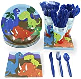 Juvale Dinosaur Party Supplies – Serves 24 – Includes Plates, Knives, Spoons, Forks, Cups and Napkins. Perfect Dino Birthday Party Pack for Kids Dinosaur Themed Parties.