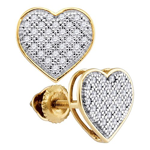 Round Pave Set Heart Earrings (10k Yellow Gold Diamond Heart Stud Earrings Love Studs Round Pave Set Cluster Style Fancy 1/6 Cttw)