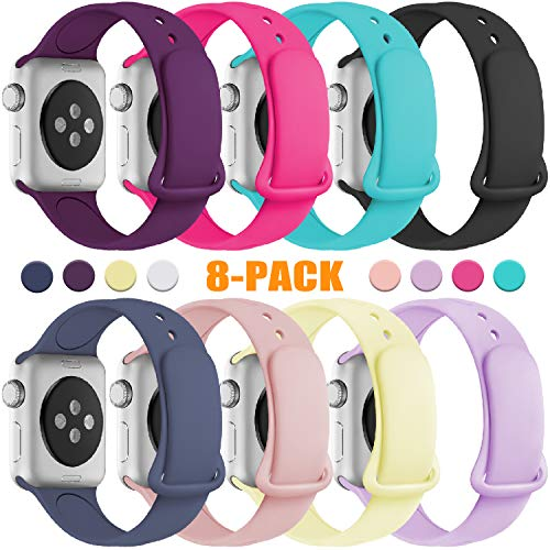 KOLEK Bands Compatible with Apple Watch 42mm/44mm, Premium Silicone Strap Compatible with iWatch 4/3/2/1, S/M, 8 Pack (Multi Compatible Color Pack)