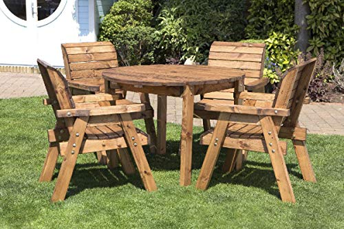 Home-Gift-Garden-Round-Wooden-Garden-Table-and-4-Chairs-Dining-Set-Solid-Wood-Outdoor-Patio-Decking-Furniture
