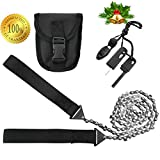 Pocket Camping Survival Gear - 36 Inch Long Pocket Chainsaw & Firestarter Emergency Kit -Magnesium Rod Fire Starter -Handsaw For Wood & Tree Cutting, Hiking Multitool -Pocket Saw Camp Saw By SUMPRI