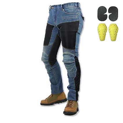Hombre Mujer Motocicleta Pantalones Moto Pantalón Mezclilla Jeans Con Azul (L- (Waist 34.5
