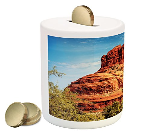Cheap  Western Piggy Bank by Lunarable, Famous Bell Rock and Courthouse Butte in..