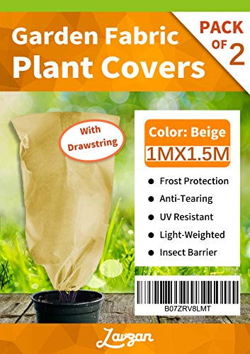 LAVZAN 0.88z/sq.yd,39.4″X59″,2Pcs Drawstring Plant Cover Bags Warm Worth Frost Blanket Frost Protection Bags for Shrubs Dwarf Trees Flowers from Bad Weather or Pests