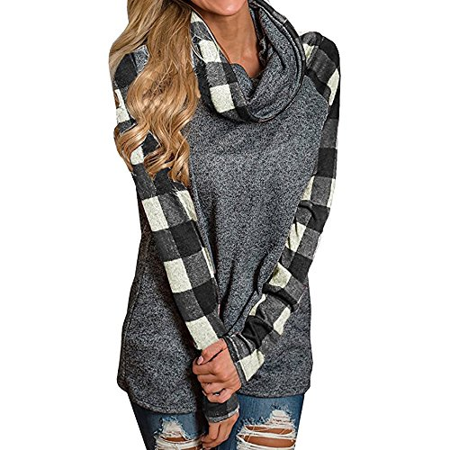 iLUGU Womens Fashion Turtleneck Blouse Plaid Long Sleeve Cotton Pullover Sweatshirt Tops (M, Black) ()