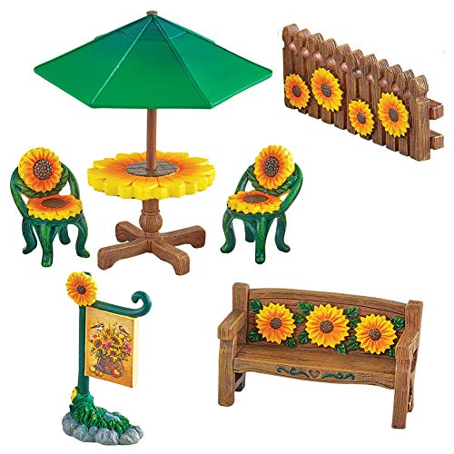 Miniature Sunflower Garden Furniture - Set of 6, Hand-Painted Collectible and Gift Idea