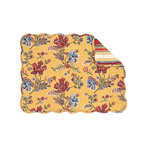 C&F Home Bexley Yellow Red Blue Floral Flower Place Mats Rectangular Cotton Quilted Reversible Washable Placemat Set of 6 Rectangular Placemat Set of 6 Bexley