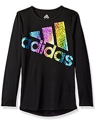 adidas Big Girls\' Long Sleeve Logo Tee, Black, XL