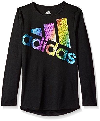 Adidas All Star Shirt - adidas Girls' Big Long Sleeve Logo Tee, Black, L (12/14)