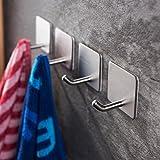 Boyd Gresham Towel Hooks/Bathroom hook - 3M Self Adhesive Hooks Office Hooks Hanging Keys for Kitchen Stick on Wall Stainless Steel 4 Packs