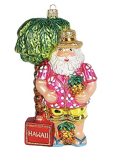 Hawaiian Santa in Hawaii Polish Mouth Blown Glass Christmas Ornament Decoration (Glass Hawaii)