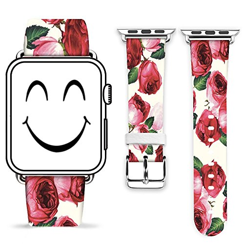 Apple Watch Band 42mm W Metal Clasp,Genuine Leather Strap Wrist Replacement Band with Adapter for All 42mm iWatch - Attractive Beautfiul Red Rosed on The Band