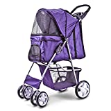 Flexzion Pet Stroller Dog Cat Small Animals Carrier Cage 4 Wheels Folding Flexible Easy Walk for Jogger Jogging Travel Up to 30 Pounds With Rain Cover Cup Holder and Mesh Window, Purple