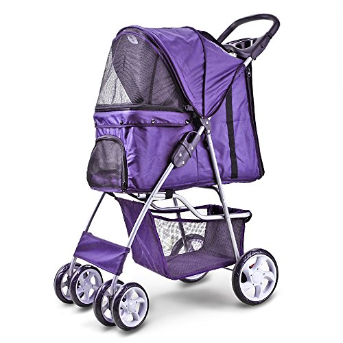 Flexzion Pet Stroller Dog Cat Small Animals Carrier Cage 4 Wheels Folding Flexible Easy Walk for Jogger Jogging Travel Up to 30 Pounds With Rain Cover Cup Holder and Mesh Window, (4 Expedition Weight Zip)
