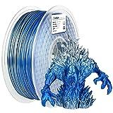 AMOLEN 3D Printer Filament,PLA Filament 1.75mm,Shiny Silk PLA Filament,Silk Silver and Shiny Blue Filament,1kg