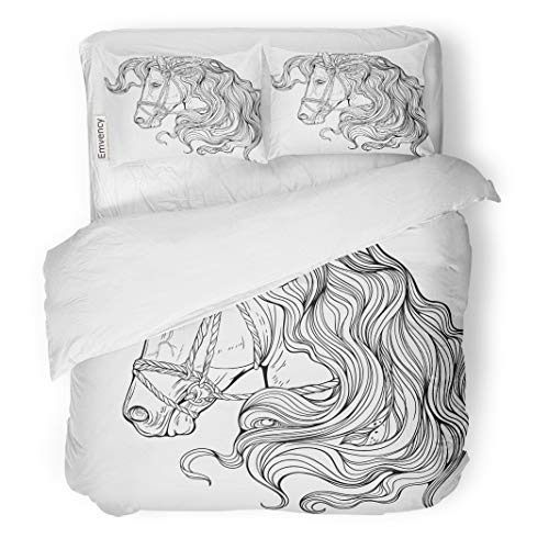 Semtomn Decor Duvet Cover Set Twin Size Adult Portrait of Horse Long Decorated Mane Coloring Page 3 Piece Brushed Microfiber Fabric Print Bedding Set Cover ()