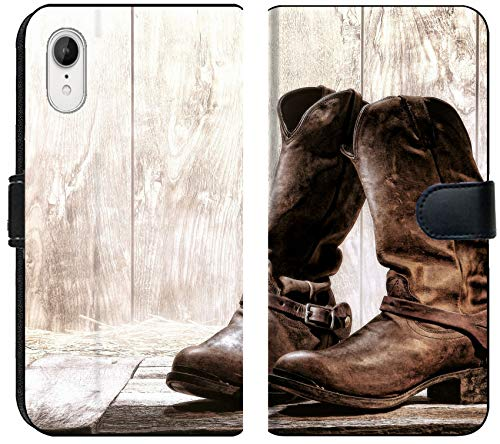 Liili Premium iPhone XR Flip Micro Fabric Wallet Case Image ID: 17862270 American West Rodeo Pair of Traditional Leather Roper Style Western Riding Slouch Cowboy