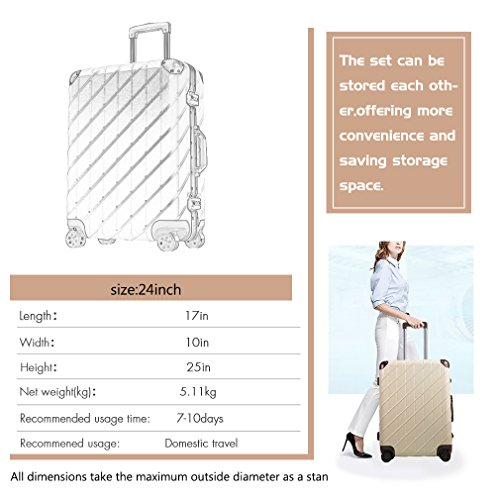Besteamer Hardside Spinner Luggage Travel Carry-on Expandable Luggage Suit, Lightweight Spinner Trolley Suitcases (24'') by Besteamer (Image #4)