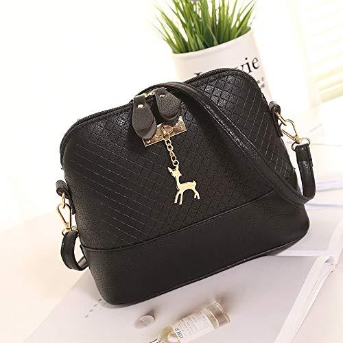 HVTKLN Nya kvinnliga väskor kvalitet PU-läder mjukt ansikte kvinnor väska vild axel messengerväska quiltad skal väska hänge söt hjort 2019 (färg: Grå handväska) Blue Hand Bag
