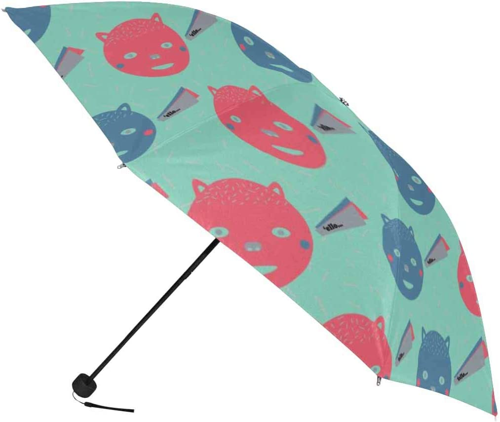 InterestPrint Custom Animal Bears Cute Anti Sun UV Foldable Travel Compact Umbrella