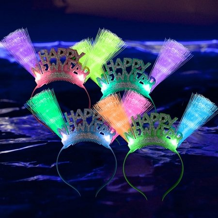 Fiber-optic LED Flashing Headband, Lot of 12 - Various Styles Headbands by Mammoth Sales (Happy New (New Year Costumes)