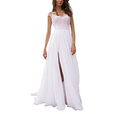 Womens Chiffon Cap Sleeves Lace Up High Slit Beach Wedding Dress Bridal Gown US 2 Ivory