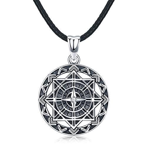 Kompass Halskette für Herren, Sterling Silber Anhänger mit Leder Originales Geschenk für Mann Length 22inch (56cm)