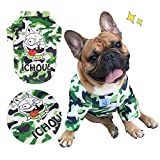 iChoue Pet Dogs Clothes T-Shirt French Bulldog Camouflage Costume Shirts Cotton Puppy Coats English Bulldog Clothing - Camouflage / Size L