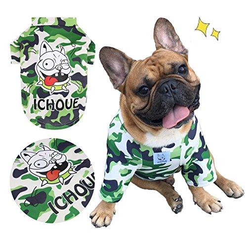 English Bulldog Costumes (iChoue Pet Dogs Clothes T-Shirt French Bulldog Camouflage Costume Shirts Cotton Puppy Coats English Bulldog Clothing - Camouflage / Size M)