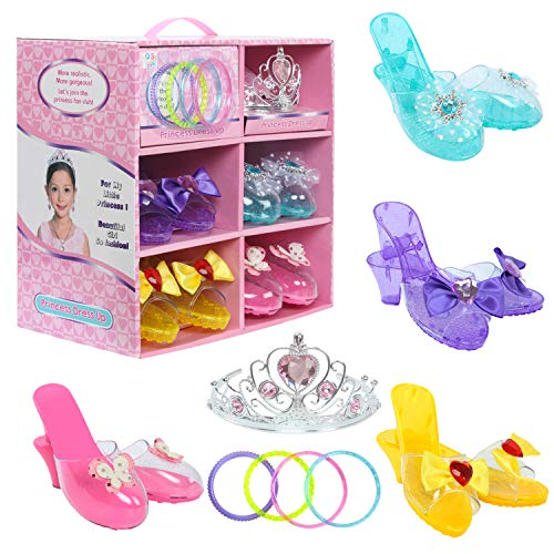 Toiijoy Girls Princess Dress up Shoes Role Play Collection Set with Princess Tiara and Bracelets for Little Girls]()
