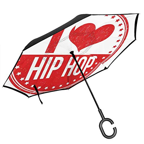 Car Reverse Umbrella,I Love Hip Hop Phrase On A Circular Grungy Background With Star Shapes,With C-Shaped Handle