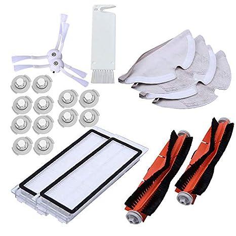 TOOGOO Adecuado para Xiaomi Roborock S50 S51 Aspiradora Recambios Kits Trapos de Limpieza Trapeador Húmedo Filtro de Cepillo Lateral Cepillo de Rodillo Roll ...