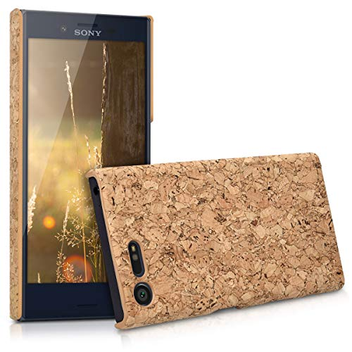 kwmobile Case Compatible with Sony Xperia X Compact - Protective Cork Mobile Cell Phone Cover - Light Brown