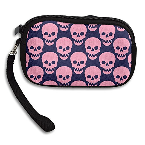 Pink Skull Emoji Coin Purse Wallet Wristlet Pouch Coin Wallet Zipper Change Holder (Pink Skull Coin Purse)