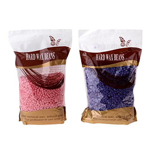 MagiDeal Pack of 2 Depilatory Pellet Hard Wax Beans Hot Film Solid Waxing Beads Armpit Arm Leg Hair Removal - Purple Lavender and Pink Rose