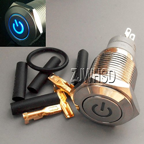 16mm 110V BLUE Led Lighted Push Button Metal ON-OFF Lock Switch Connector O-ring [ABBOTT] - Lighted Keyless Entry