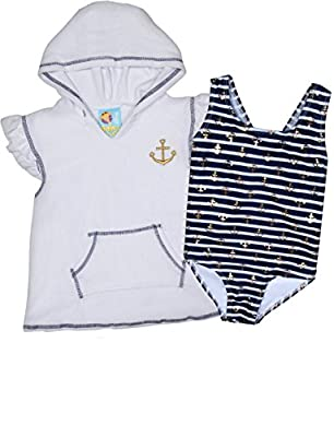 Baby Buns Girl's One Piece Swimsuit with Cover up Set (Toddler/Little Girl)