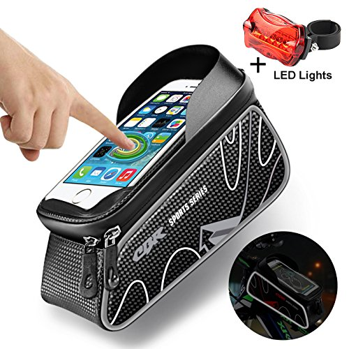 Bike Bag,Mobile Phone Screen Touch Holder,Waterproof Touch Screen, Bike Bag with iPhone 7 7Plus 6 6plus 6s 5 5s Screen Size,Waterproof Front Frame Bags (Gifts: Bike LED light)