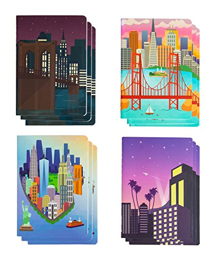 Memo Book - 12-Pack Mini Notebooks, 4 City View Designs, Field Notebook, Pocket Journal for Kids, Perfect for Journaling, Diary, Note Taking, Soft Cover, 16 Ruled Sheets Each, 3.5 x 5 Inches]()