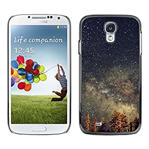 TopCaseStore Rubber Case Hard Cover Protection Skin for SAMSUNG GALAXY S4 - stars sky night tree tops galaxy